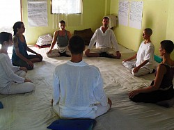 Pranayama and Meditation - for physical and mental health, morning practice before class. Wu Xing course, metal element day. Goa, India